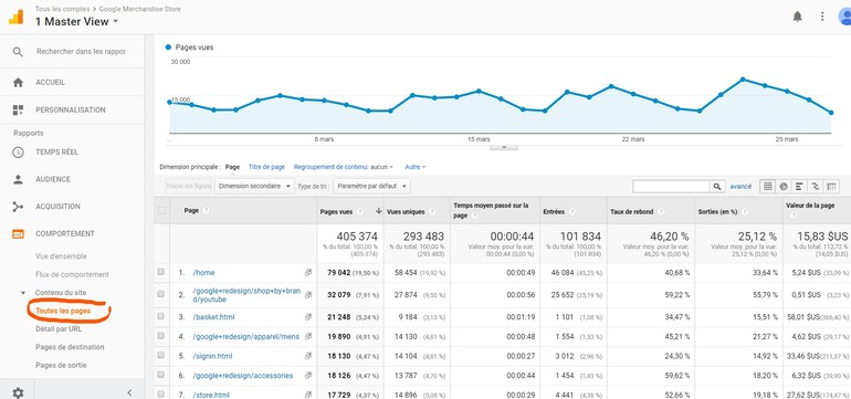 Google Analytics - Pages vues