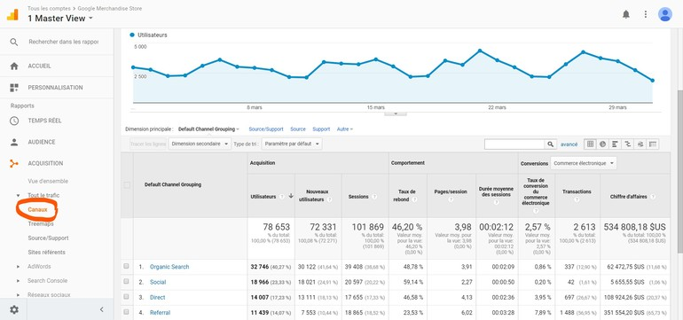 Google Analytics - Canaux