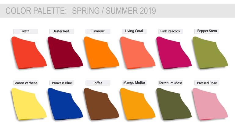 Couleurs tendances de l'été 2019