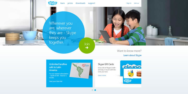 Site web de Skype en version Flat Design