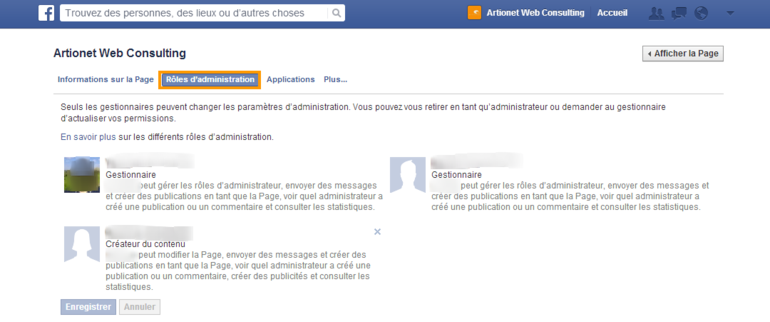 Administrateur page Facebook