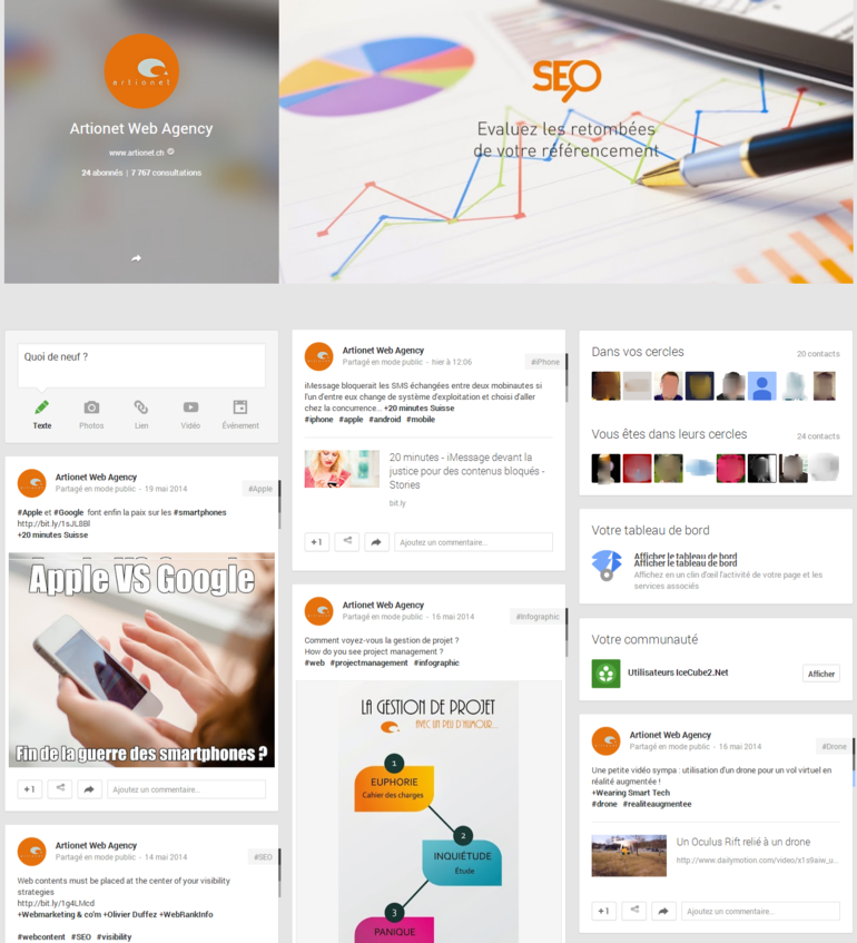 Page Google + Artionet Web Agency