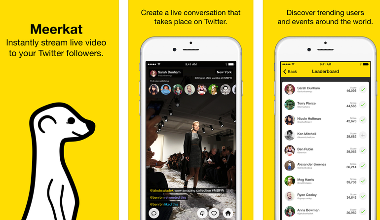 Meerkat : captures d'écran de l'application