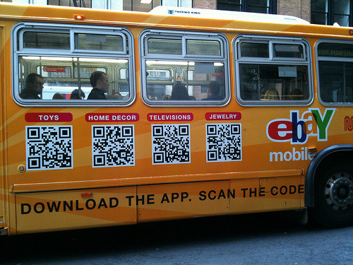 QR code sur un bus de New York