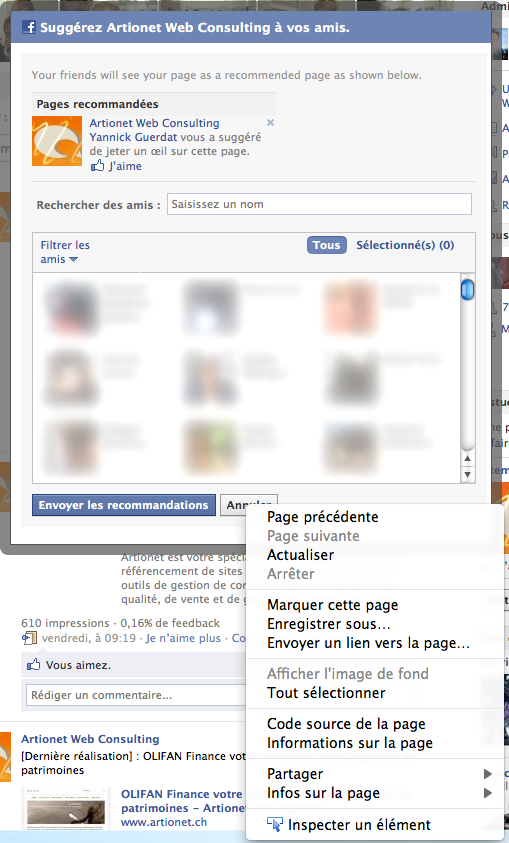 Suggérer automatiquement une application Facebook