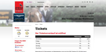 CSIO St Gall - Tickets