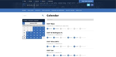 World Of Show Jumping - Calendar